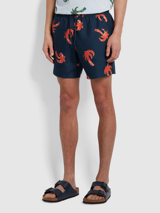 Colbert Palm Print Swim Shorts In Yale