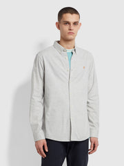 Steen Slim Fit Brushed Organic Cotton Shirt In Grey Marl