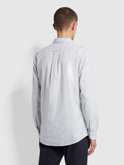 Steen Slim Fit Brushed Organic Cotton Shirt In Maritime Blue