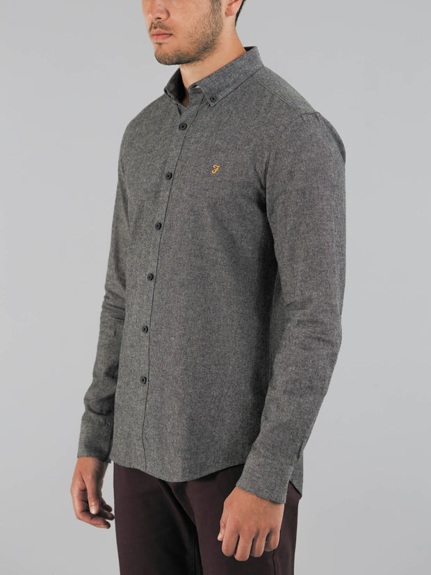 STEEN SLIM FIT BRUSHED COTTON OXFORD SHIRT IN GRAVEL