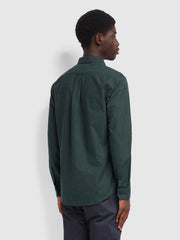 Steen Slim Fit Brushed Cotton Oxford Shirt In Fern Green