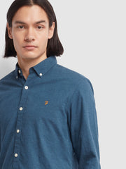 STEEN SLIM FIT BRUSHED COTTON OXFORD SHIRT IN FARAH TEAL