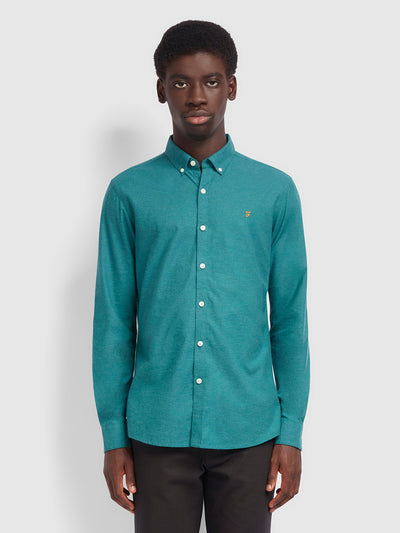 Steen Slim Fit Brushed Cotton Oxford Shirt In Rich Turquoise
