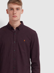 Steen Slim Fit Brushed Cotton Oxford Shirt In Farah Red