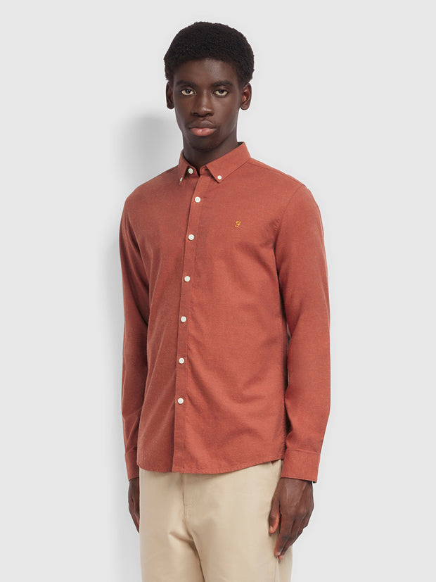 Steen Slim Fit Brushed Cotton Oxford Shirt In Farah Russet