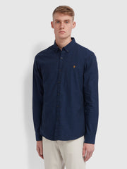 Steen Slim Fit Brushed Cotton Oxford Shirt In True Blue