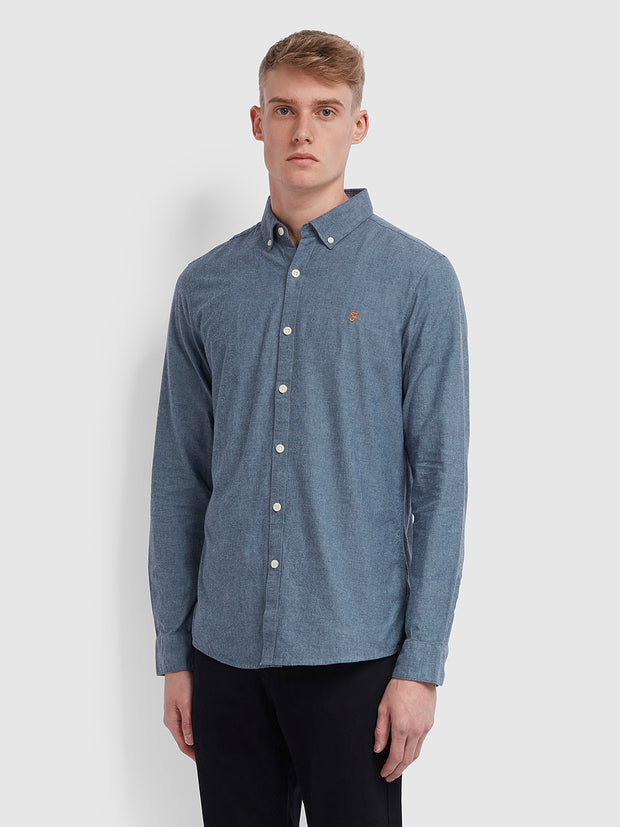 Steen Slim Fit Brushed Cotton Oxford Shirt In Blue Bell