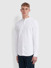 Brewer Slim Fit Grandad Oxford Shirt In White