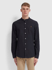Brewer Slim Fit Grandad Oxford Shirt In Navy
