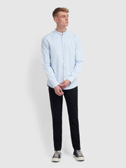 Brewer Slim Fit Grandad Oxford Shirt In Sky Blue