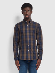 Brewer Slim Fit Tartan Oxford Shirt In Rich Grey
