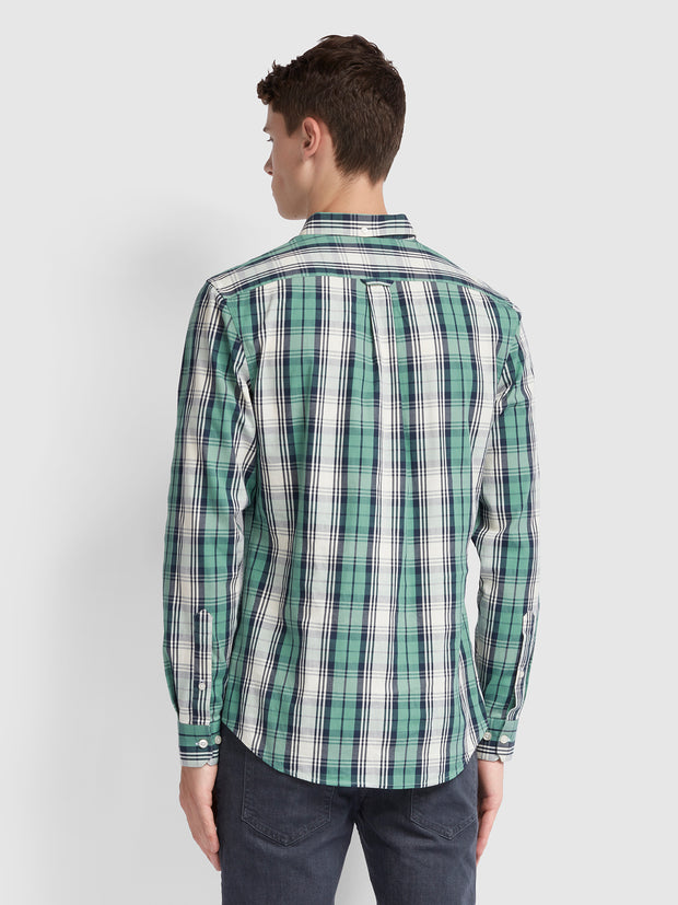 BREWER SLIM FIT TARTAN OXFORD SHIRT IN JADE GREEN