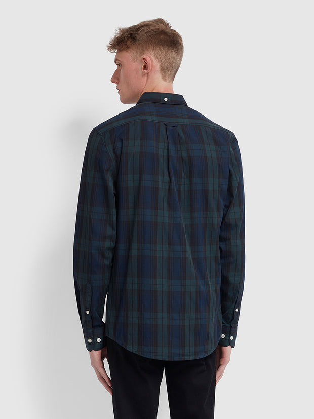 Brewer Slim Fit Tartan Oxford Shirt In Gillespie Green