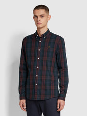 Brewer Slim Fit Tartan Oxford Shirt In Farah Red