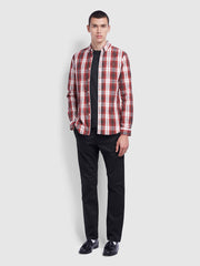 Brewer Slim Fit Tartan Oxford Shirt In Farah Russet
