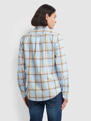 Steen Slim Fit Brushed Cotton Check Shirt In Neon Blue Marl