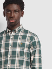 Steen Slim Fit Brushed Cotton Check Shirt In Emerald Green