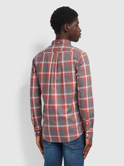 Steen Slim Fit Brushed Cotton Check Shirt In Farah Russet