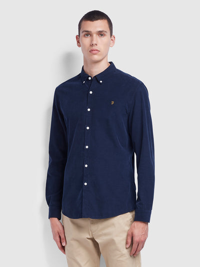 Fontella Slim Fit Cord Shirt In True Navy