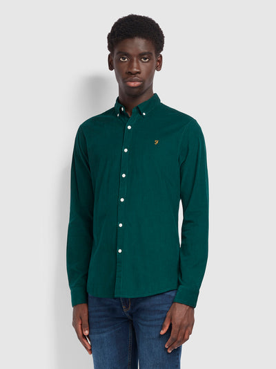 Fontella Slim Fit Cord Shirt In Emerald Green