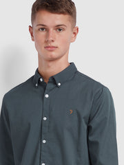 Baker Slim Fit Oxford Shirt In Dark Grey