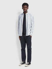 Milton Casual Fit Striped Shirt In True Navy