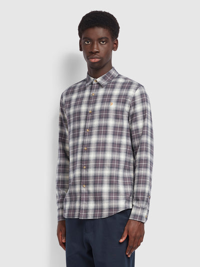 Bushell Casual Fit Check Shirt In Farah Grey