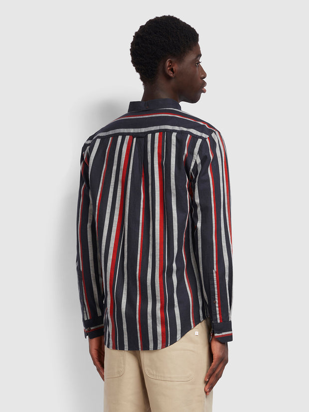 Mcpherson Casual Fit Striped Shirt In True Navy Marl