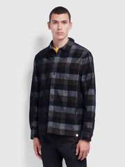 Wyman Casual Fit Check Cord Shirt In Deep Black