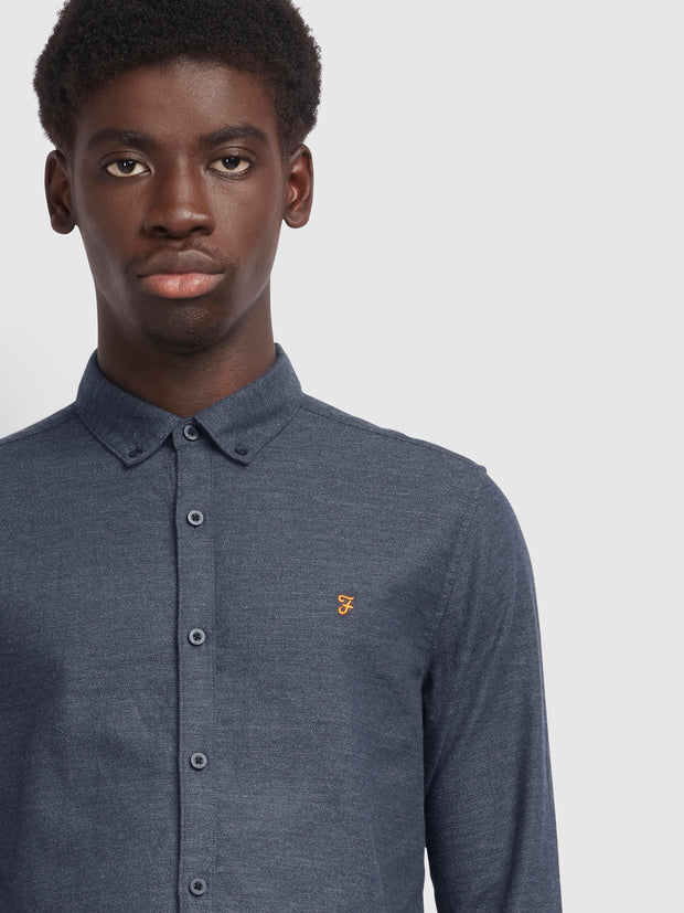 Kreo Slim Fit Brushed Cotton Shirt In Farah Grey