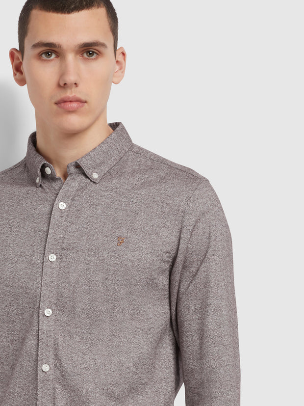 Kreo Slim Fit Brushed Cotton Shirt In Farah Burgundy
