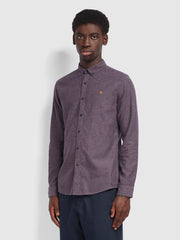 Kreo Slim Fit Brushed Cotton Shirt In Rich Lilac