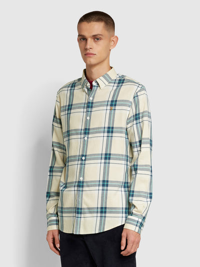 Krone Slim Fit Brushed Cotton Check Shirt In Farah Yellow