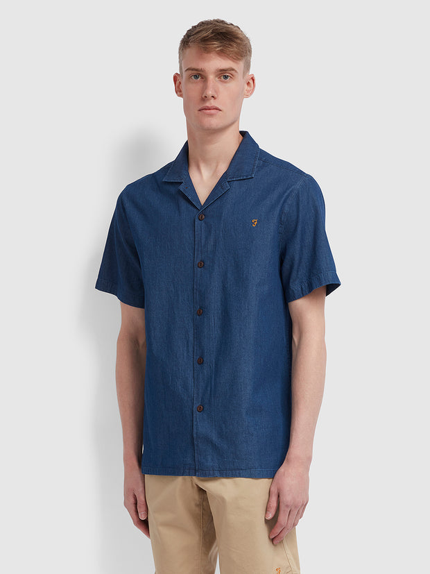 Joplin Casual Fit Short Sleeve Denim Shirt In Mid Indigo