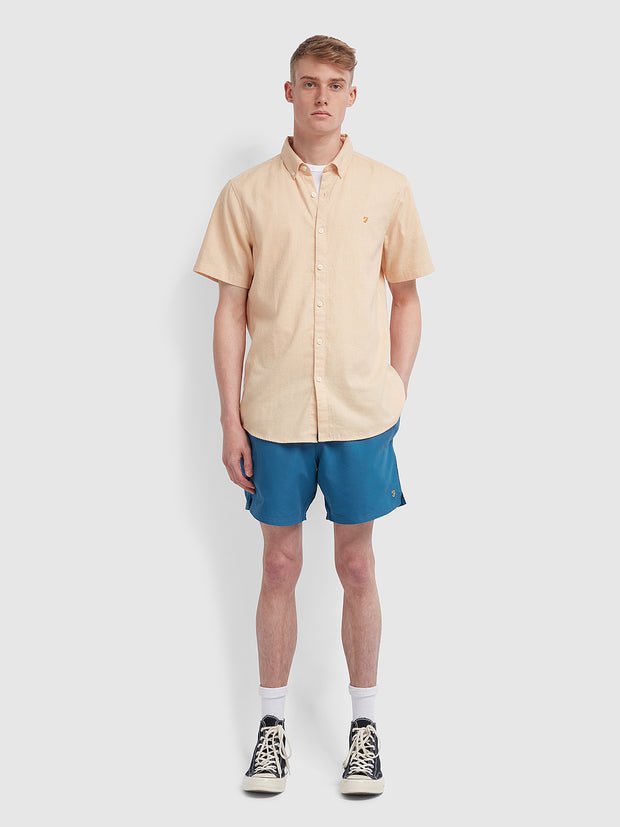 Kreo Slim Fit Short Sleeve Brushed Cotton Shirt In Apricot
