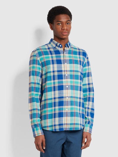 Clayton Slim Fit Check Organic Cotton Shirt In Cobalt Blue