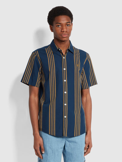 Marina Casual Fit Short Sleeve Striped Seersucker Organic Cotton Shirt In Yale