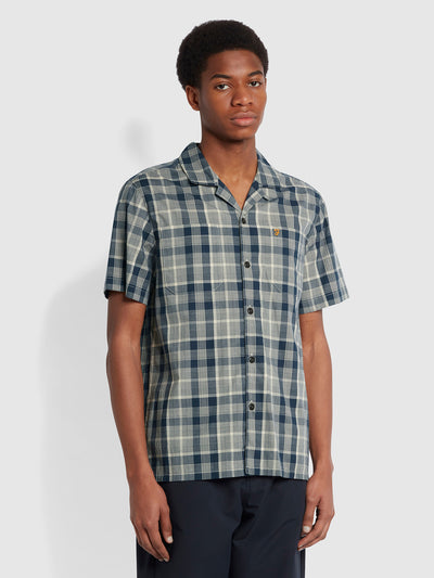 Bayfront Casual Fit Short Sleeve Check Organic Cotton Shirt In Yale