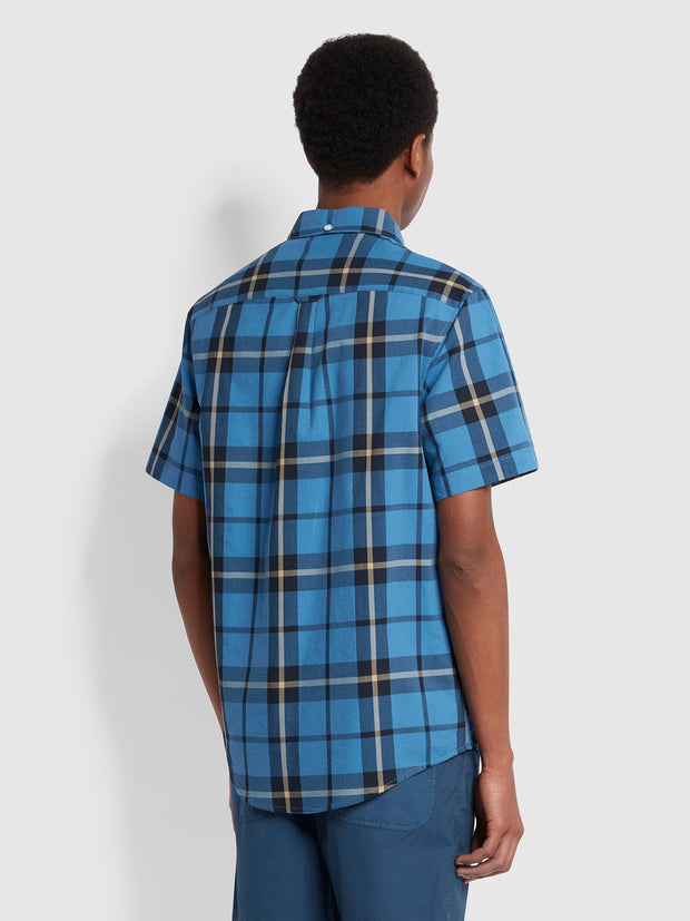Tekkers Casual Fit Short Sleeve Check Organic Cotton Shirt In Blue Mist