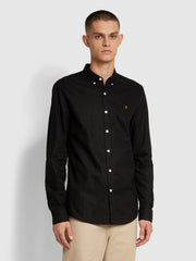 Brewer Slim Fit Oxford Shirt In Black