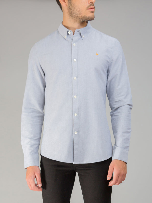 Brewer Slim Fit Oxford Shirt In Anthracite