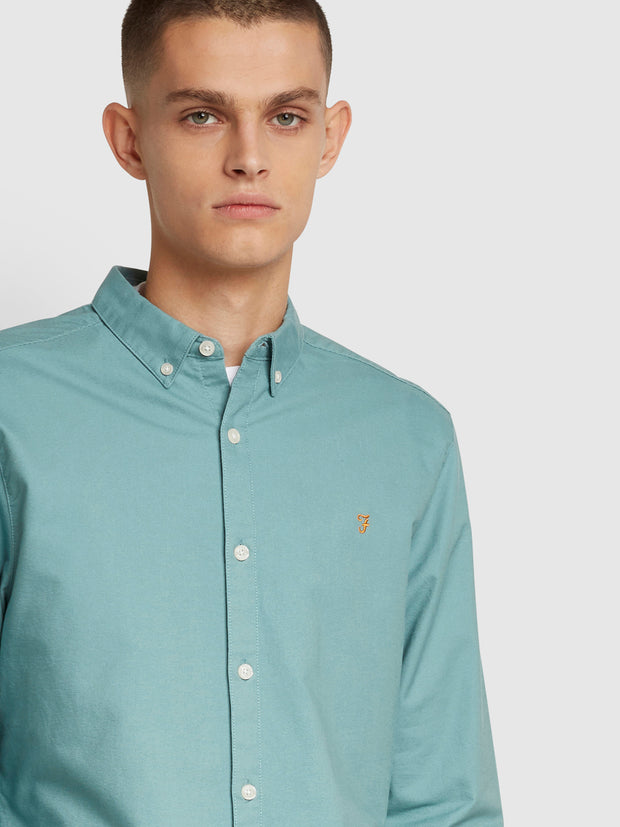 Brewer Slim Fit Oxford Shirt In Topaz Green