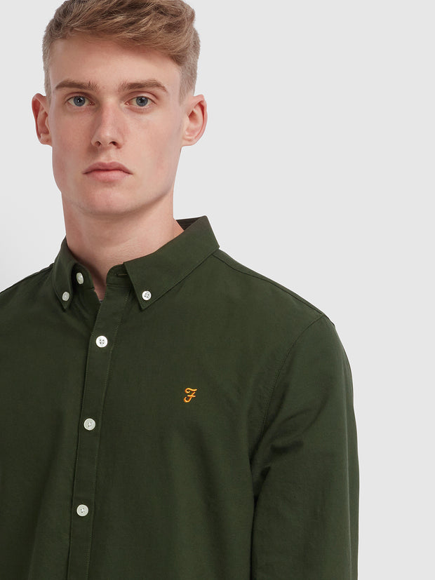 Brewer Slim Fit Oxford Shirt In Evergreen