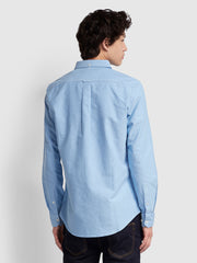BREWER SLIM FIT OXFORD SHIRT IN MID BLUE