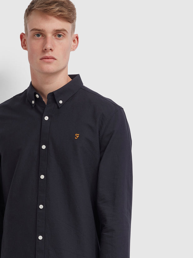 Brewer Slim Fit Oxford Shirt In Navy