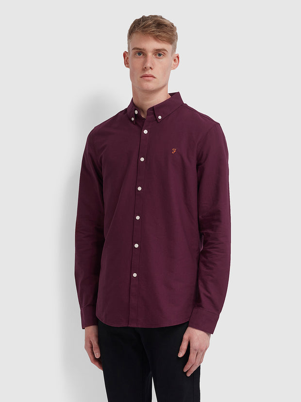 Brewer Slim Fit Oxford Shirt In Bordeaux