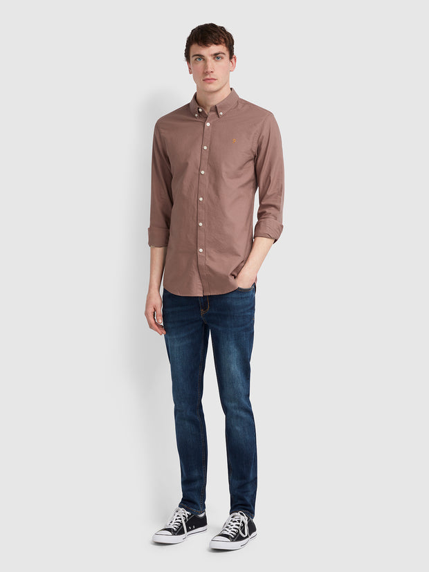 BREWER SLIM FIT OXFORD SHIRT IN DARK MAUVE