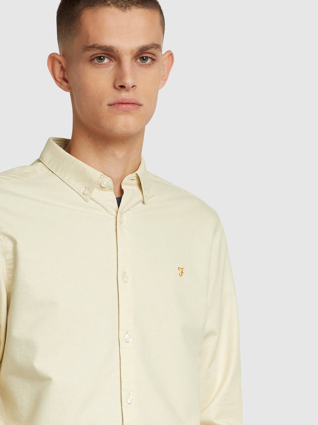 Brewer Slim Fit Oxford Shirt In Farah Yellow