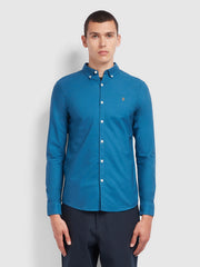 Brewer Slim Fit Oxford Shirt In Farah Blue