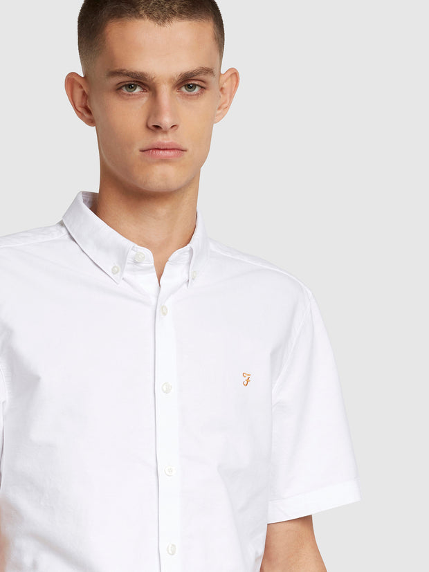 Brewer Slim Fit Short Sleeve Oxford Shirt In White